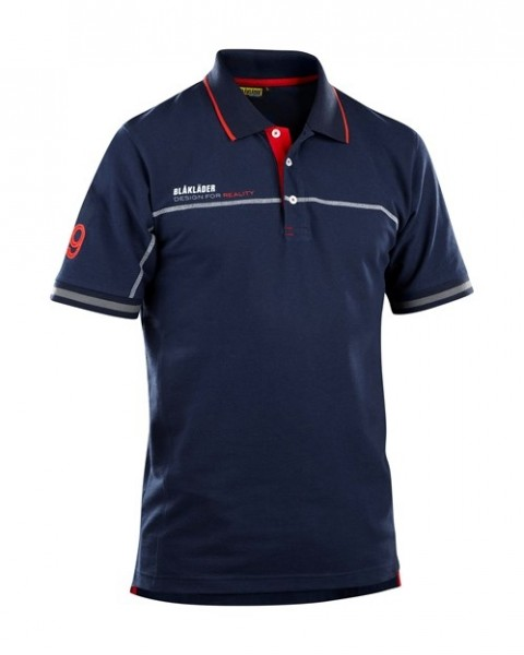 BLAKLÄDER BRANDED POLO SHIRT MARINEBLAU/ROT